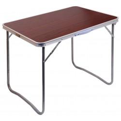 Compass Balaton hnědý stolek kempingový skládací 13486 povrch imitace tmavé dřevo