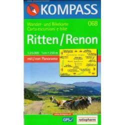 Kompass 068 Ritten/Renon 1:25 000 turistická mapa
