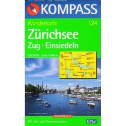 Kompass 124 Zürichsee, Zug, Einsiedeln 1:50 000