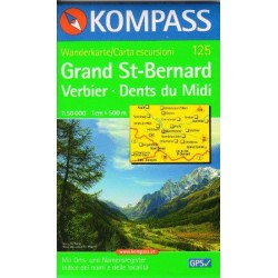 Kompass 125 Grand St. Bernard, Verbier, Dents du Midi 1:50 000
