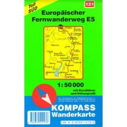 Kompass 121 Europäischer Fernwanderweg E5 Teil Süd 1:50 000