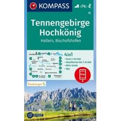 Kompass 15 Tennengebirge, Hochkönig, Hallein, Bischofshofen 1:50 000