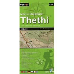Vektor 452 Albánské Alpy Thethi 1:30 000 turistická mapa
