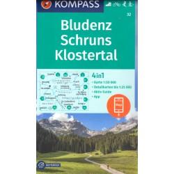 Kompass 32 Bludenz, Schruns, Klostertal 1:50 000