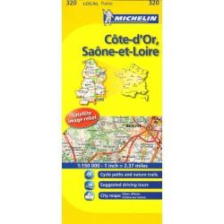Michelin 320 Cote-dOr, Saone-et-Loire 1:150 000 automapa