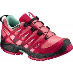 Salomon XA Pro 3D CSWP J madder pink/lucite green 379111 dětské nízké nepromokavé boty