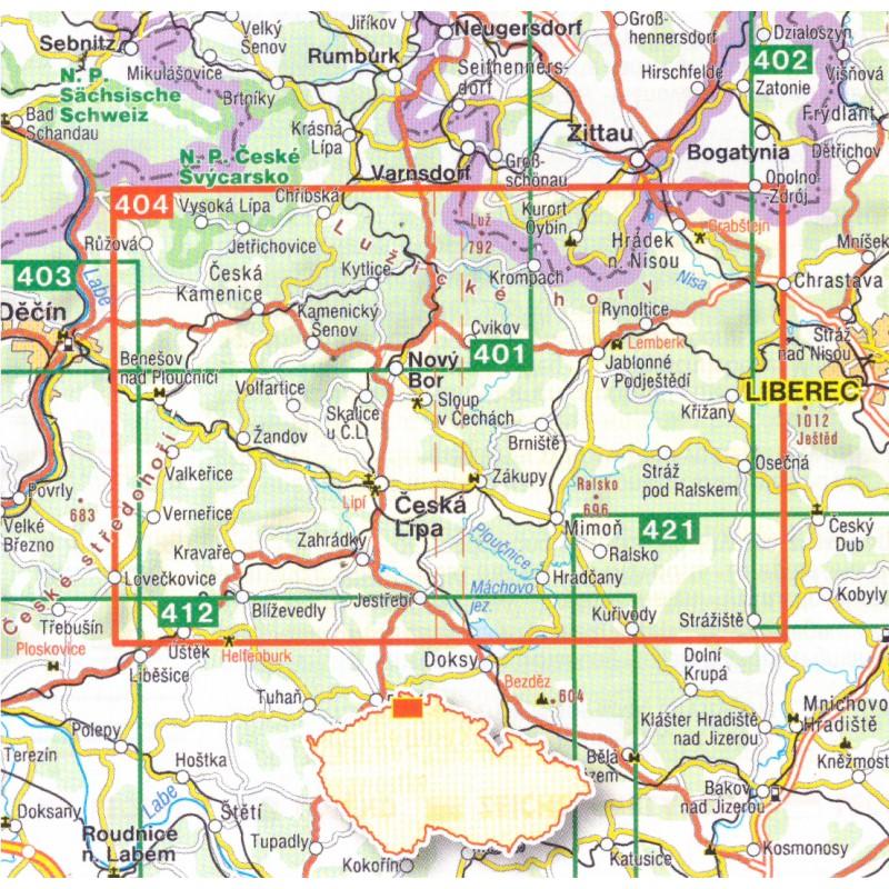 Shocart 404 Luzicke Hory 1 40 000 Turisticka Mapa