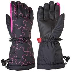 Relax Puzzy RR15C junior černá růžová dětské lyžařské rukavice