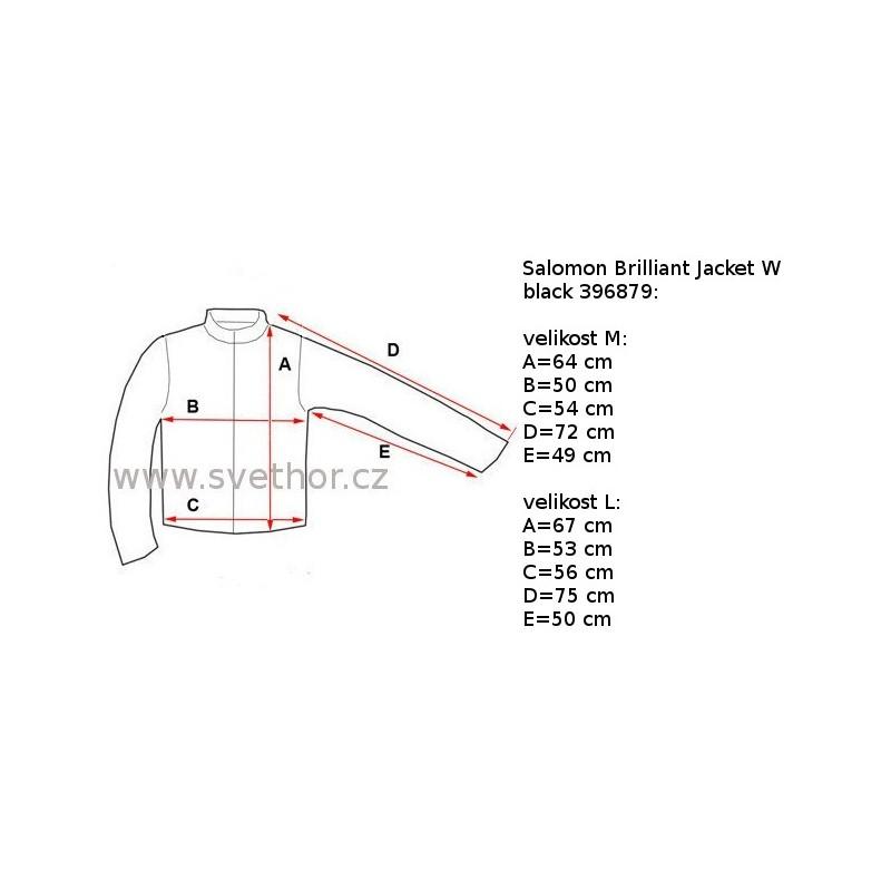Reálně naměřené rozměry  Salomon Brilliant Jacket W black 396879 dámská  nepromokavá zimní lyžařská bunda (1) e8eae90701