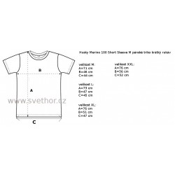 Husky Merino 100 Short Sleeve M černá pánské triko krátký rukáv Merino vlna