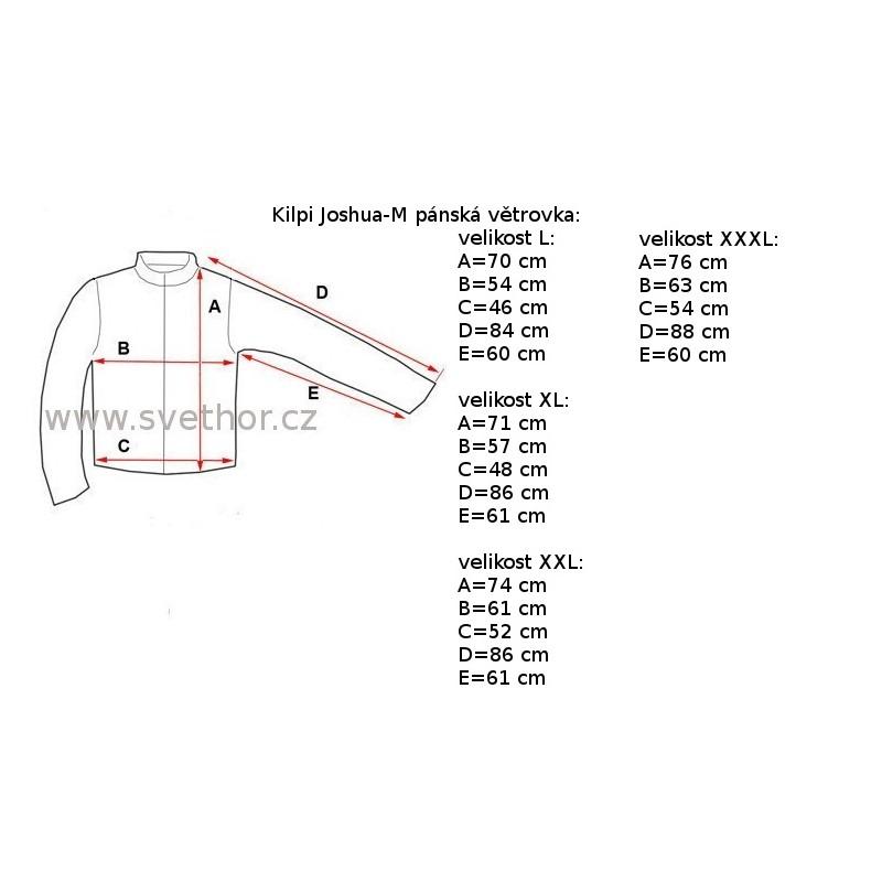 344413bb547b Reálně naměřené rozměry  Kilpi Joshua-M BLU modrá pánská větruodolná bunda1