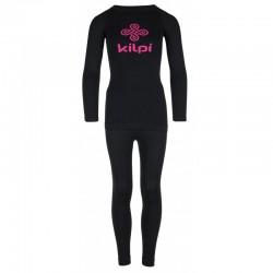 Kilpi Caroline-JG černá dětské dívčí termoprádlo set triko dlouhý rukáv + spodky